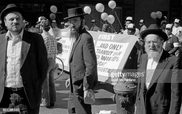 New York City Jewish men protest at a labor rally on 5th Avenue in downtown Manhattan The rally is in protest to the outsourcing of union jobs...