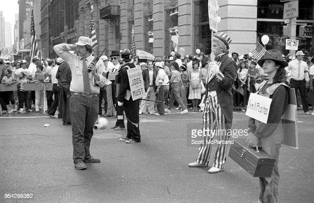 New York City Laborers dressed in costumes protest at a rally on 5th Avenue in downtown Manhattan The rally is in protest to the outsourcing of union...