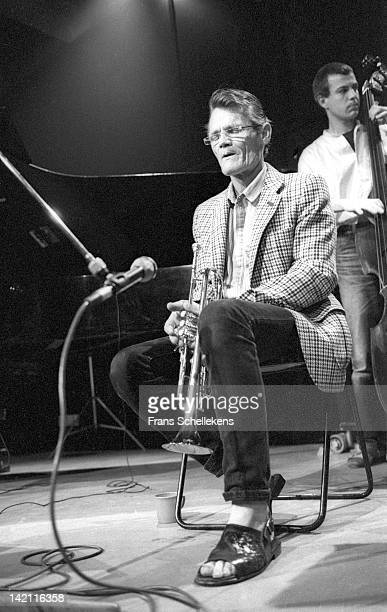 29th AUGUST: American singer and trumpet player Chet Baker performs live on stage at theBIM Huis on 29th August 1986.