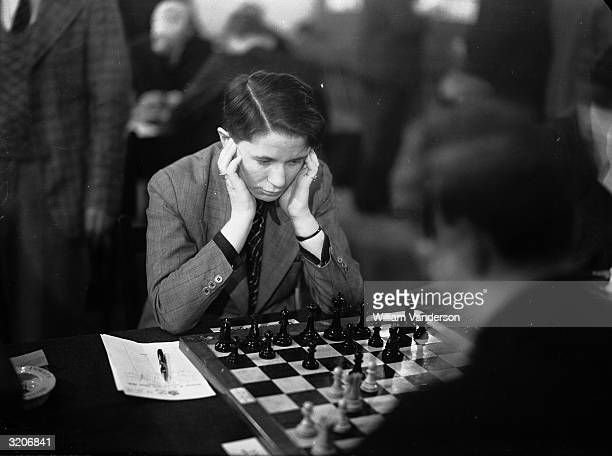 German chess player Sonja Graf in play at the Premier Tournament of the Annual Christmas Congress of the Hastings and St Leonard's Chess Club