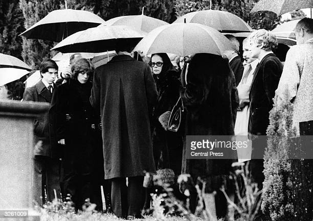 Mourners at the funeral of Charlie Chaplin at Corsier sur Vevey near Lake Geneva Switzerland