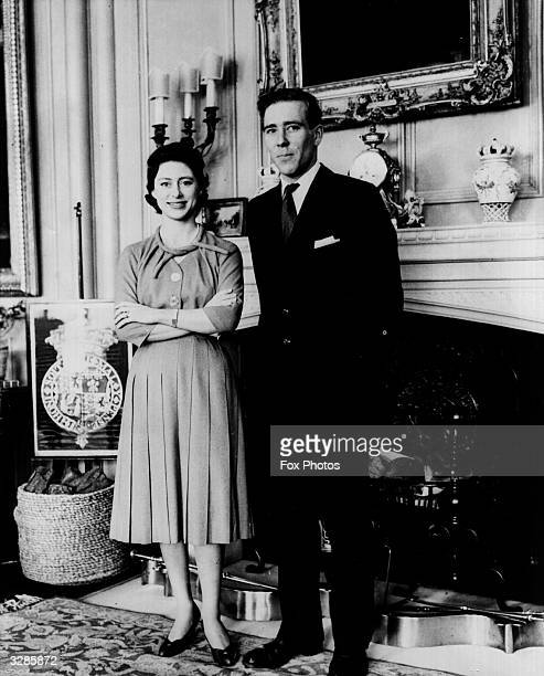 Princess Margaret and Antony ArmstrongJones announce their intention to marry photographed at Royal Lodge Windsor