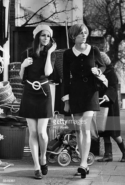High street shoppers epitomising the fashion of the late 1960's