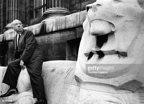 British director Alfred Hitchcock outside the British Museum in London Original Publication Picture Post 7499 A Sinister Time Was Had By All pub 1955