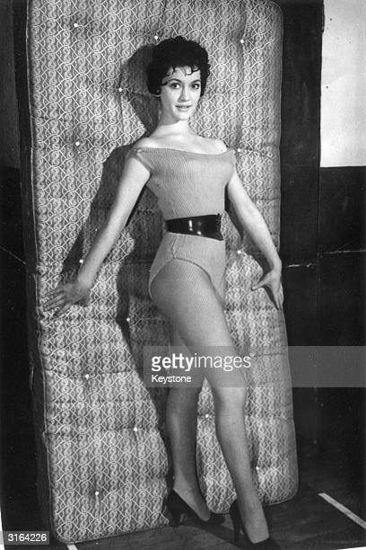 British actress Amanda Barrie during rehearsals at the RCA Studios in Hammersmith for the TV musical 'Bonanza'