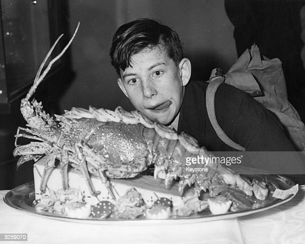A young boy licks his lips at the sight of a lobster dish one of the entries in the 'Champion Services Cook' contest at the International Hotel and...