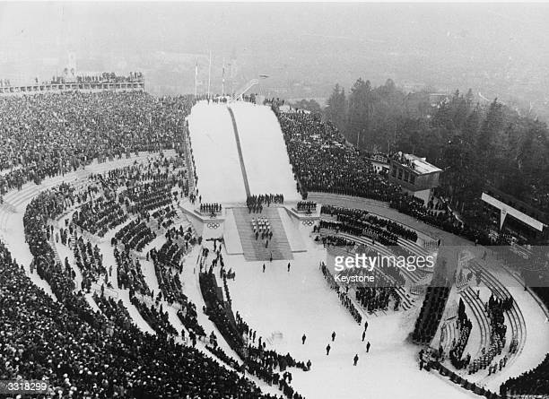 The opening ceremony at the 1964 Winter Olympics in Innsbruck Austria