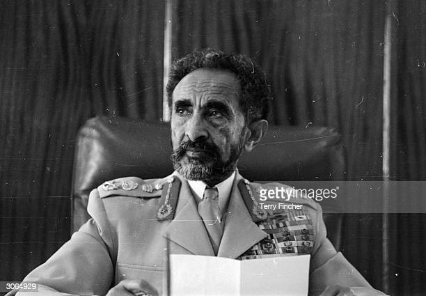 Emperor Haile Selassie of Ethiopia in his palace office in the capital Addis Ababa