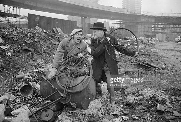 Harry H Corbett and Wilfrid Brambell stars of the popular TV series Steptoe and Son on a patch of waste ground in Shepherd's Bush