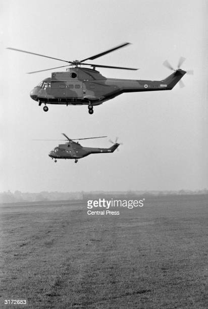 The SA 330 PUMA tacticalsupport helicopters in flight at Yeovil in Somerset