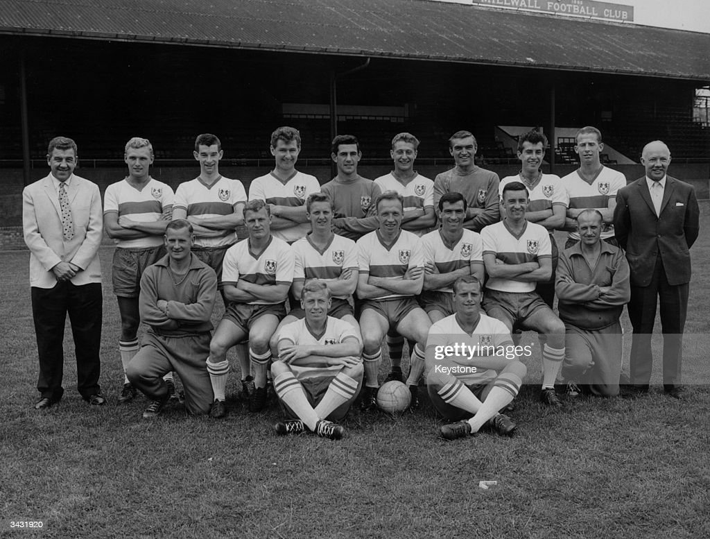 Millwall Football Club players at their ground, back row (left to right), Dave Harper, Tommy Wilson, Carl Wilson, Peter Reader, Gary Townend, Reg Davis, David Jones and Ray Brady. Front row, Joe Broadfoot, Alan Spears, Tommy Garnett, Peter Burridge and Desmond Anderson. Seated in front are Harry O'Beney and Harry Gripps.