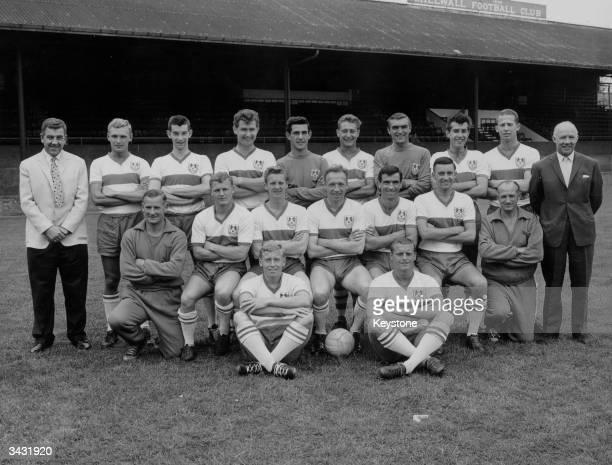 Millwall Football Club players at their ground back row Dave Harper Tommy Wilson Carl Wilson Peter Reader Gary Townend Reg Davis David Jones and Ray...