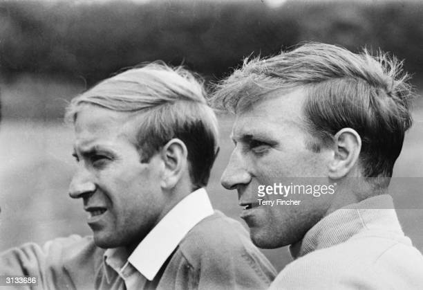 British footballing brothers Bobby and Jack Charlton relaxing on the day before the World Cup final