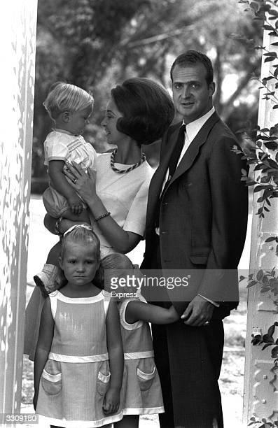 Prince Juan Carlos and Princess Sofia of Spain with their children Prince Felipe and the Princesses Elena and Christina.