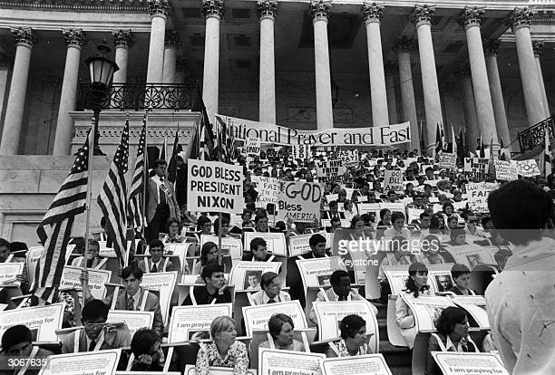 A prayer vigil in support of Republican President Richard Nixon during the Watergate crisis