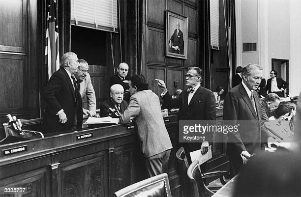 Members of the United States Federal Judiciary Committee Impeachment panel arguing during a session in Washington concerning the impeachment of...