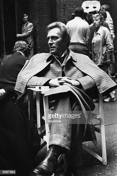 Actor Christopher Plummer as Sherlock Holmes during the filming of 'Murder by Decree' in Clink Street London