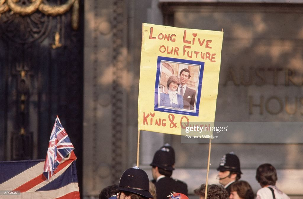 A banner celebrating Prince Charles and Princes Diana, the future King and Queen, on the day of their wedding.