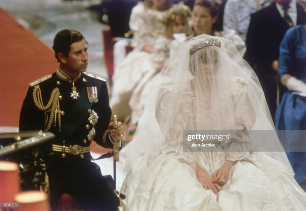 Charles, Prince of Wales, with his wife, Princess Diana (1961 - 1997), on the altar of St Paul's Cathedral during their marriage ceremony.