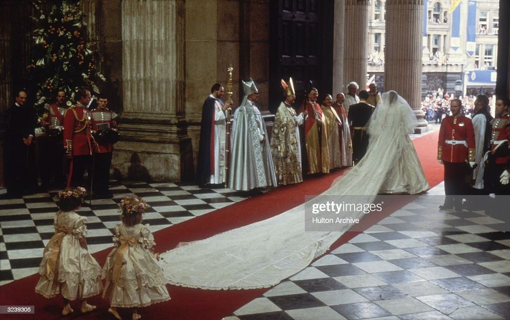Charles, Prince of Wales, with his wife, Princess Diana (1961 - 1997), at St Paul's Cathedral, London, during their marriage ceremony.
