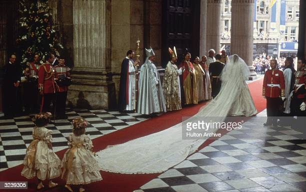 Charles Prince of Wales with his wife Princess Diana at St Paul's Cathedral London during their marriage ceremony