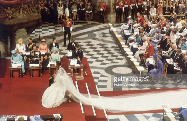 Charles, Prince of Wales, with his wife, Princess Diana , at the altar of St Paul's Cathedral during their marriage ceremony.