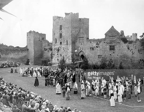 A rehearsal of the Shropshire Historical Pageant at Ludlow Castle