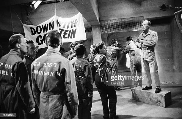 The Orator played by John Moore addresses the prisoners in a scene from a BBC TV production of George Orwell's classic novel '1984'