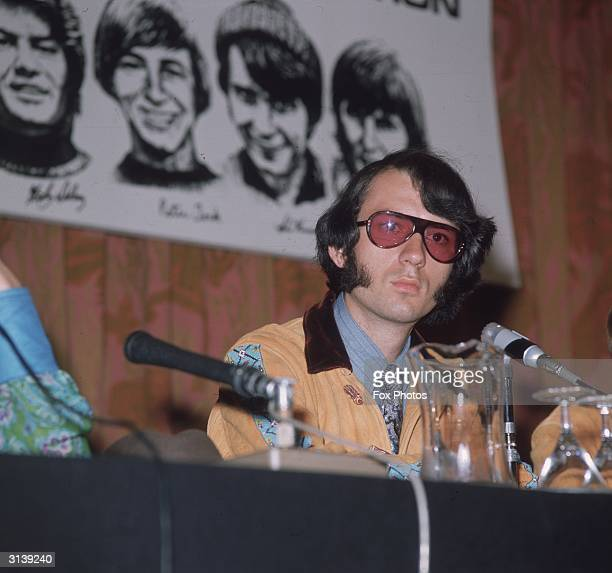 American musician Mike Nesmith a guitarist with the manufactured pop group the Monkees at a press conference in England