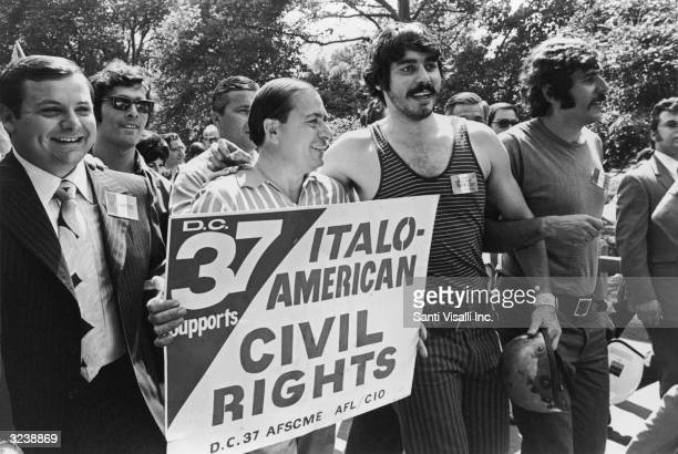 Anthony and Joseph Colombo of the organized crime family march with others during the Italian Unity Day Parade New York City