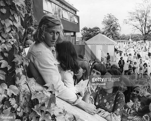 Young fans of Swedish tennis player Bjorn Borg at Wimbledon in London