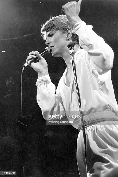 British pop rock singer David Bowie in concert at Earl's Court London during his 1978 world tour