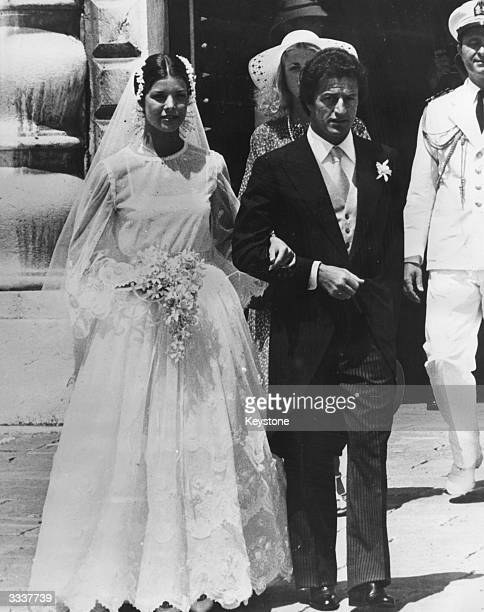 Princess Caroline of Monaco with her husband Philippe Junot after their marriage in Monaco.