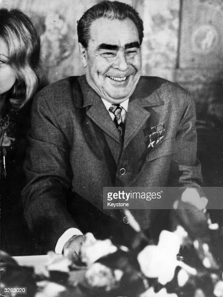 Leonid Ilyich Brezhnev Russian president during visit to Paris