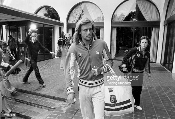 Swedish tennis player Bjorn Borg being followed by a television crew at his hotel in London during the Wimbledon Lawn Tennis Championships