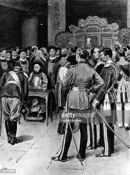 A reception for foreign ministers by the Dowager Empress of China when the court had moved to the west The Doyen of the Diplomatic Body Baron...