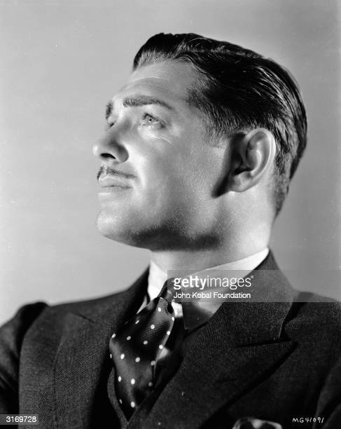 American actor Clark Gable wearing a spotted tie