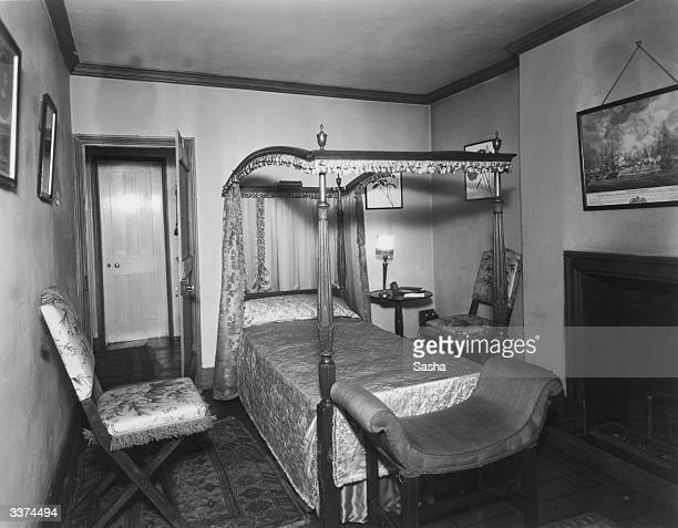 The bedroom of producer and stage director Robert Milton's home at 19 Grosvenor Mews near Oxford Street London