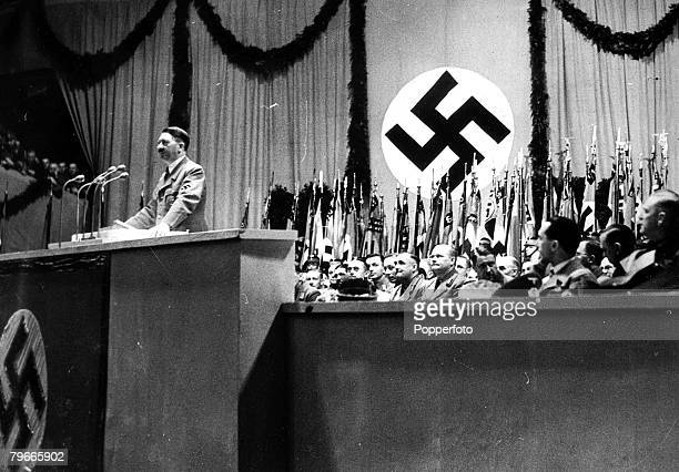 29th March 1938 German Chancellor and Nazi dictator Adolf Hitler is pictured making a provocative speech in Berlin