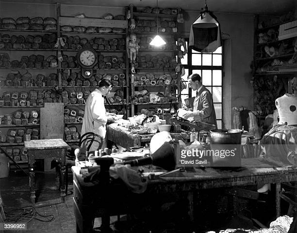 Staff at work in a studio where waxworks are made at Madame Tussaud's on Marylebone Road London
