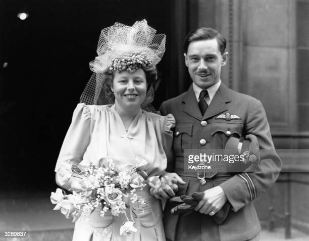 The wedding of the Hon Hugh Richard Fielding RAFVR to Miss Sheila Katherine Bolton daughter of Brigadier Bolton at Westminster Cathedral The groom is...