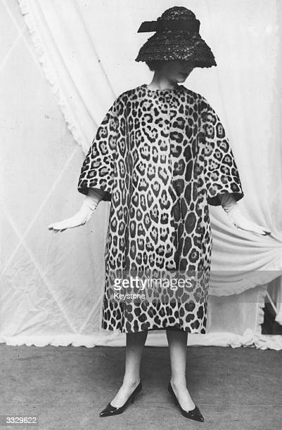 Hedda Marks modelling a coat made of jaguar fur called Radjah II by Lanvin of Paris during a showing of Debenham and Freebody's Continental...