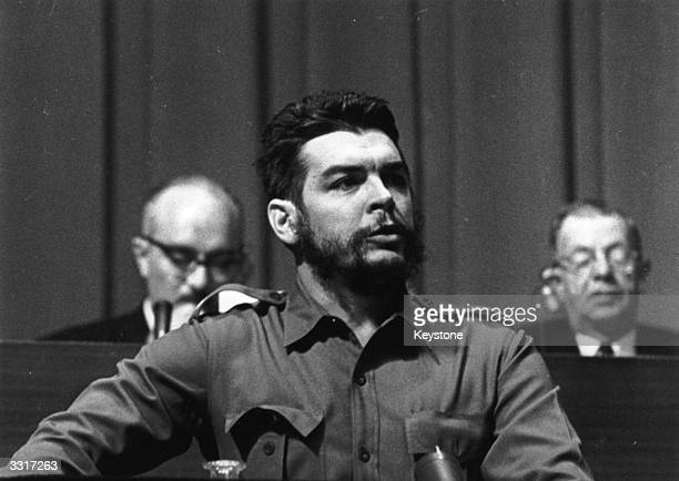 Argentine Communist revolutionary leader Ernesto Che Guevara speaking at the World Commerce and Development Conference at the Palace des Nations at...