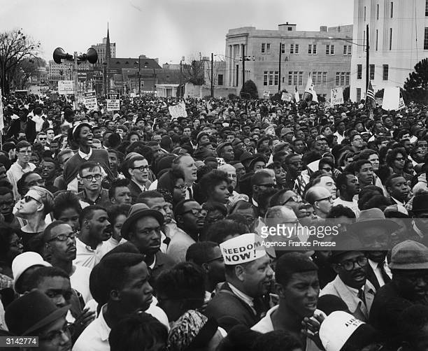 Civil rights protesters in Montgomery, Alabama after their march from Selma to protest against voter registration laws in the state. One marcher is...