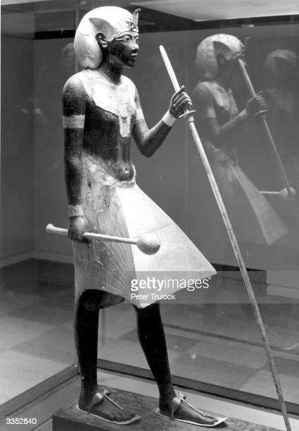 A lifesize statue of Tutankhamen on display at the British Museum London