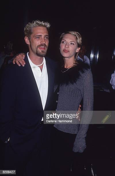 Canadianborn actor Jason Priestley with his wife actor Ashlee Petersen at a Feminist Majority benefit at the Directors' Guild of America Theater Los...