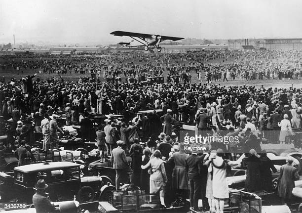 Charles Lindbergh flying into Croydon after his record breaking flight across the Atlantic.