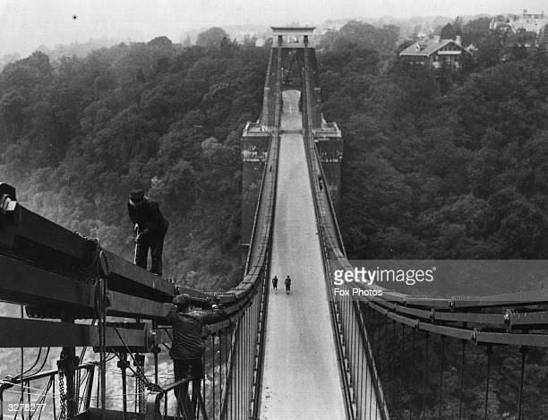 Clifton Suspension Bridge in Bristol being repainted