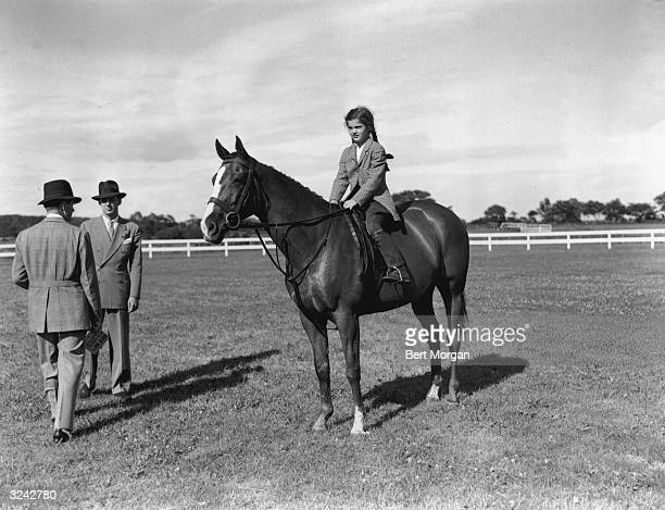 EXCLUSIVE Portrait of Jacqueline Bouvier daughter of Mr and Mrs John V Bouvier III atop her horse 'Danseuse' at the Vassar Horse Show Poughkeepsie...