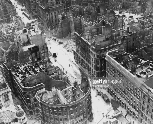 Damaged buildings in Cannon Street in the City of London during the Blitz